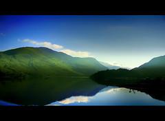 Morning Break (Eve Livesey) Tags: morning blue light sky lake mountains green clouds landscape nikon soft shadows naturesfinest instantfave d80 specnature speclandscape evelivesey imagesforthelittelprince
