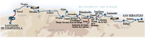 Route Map - El Transcantabrico luxury train, Santiago de Compostela to San Sebastian