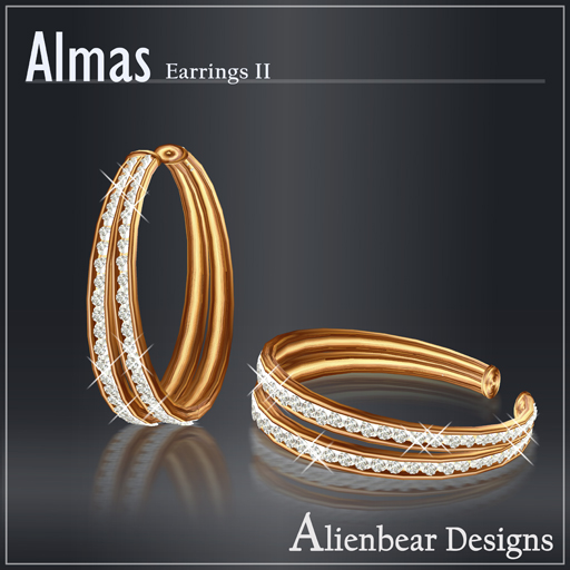 Almas gold earrings II white