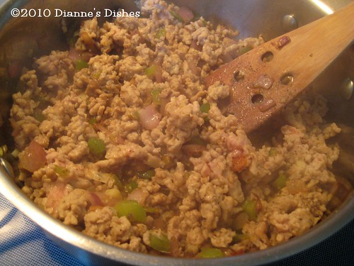 Chicken Chili: Ground Chicken, Onions, Peppers and Garlic