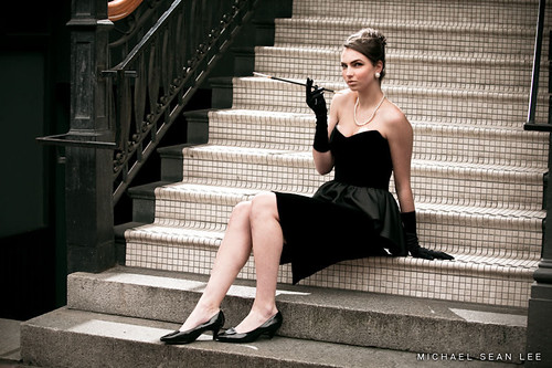 Model on stairs in Gastown