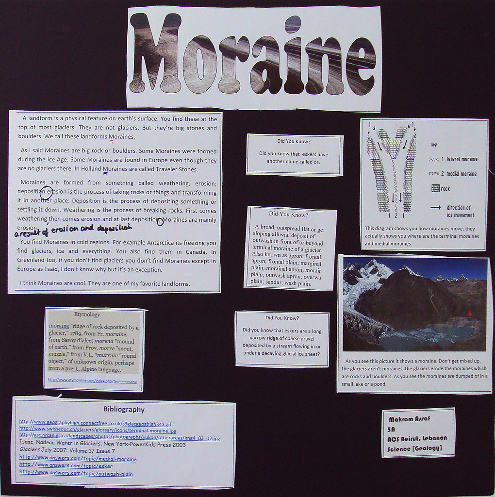 MoraMy project is Moraines;<br />