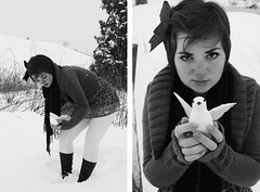 Girl with a Bird (jessi_cord) Tags: blackandwhite bw snow bird girl cord diptych jessica caroline byrd ironwine jessalee girlwithabird