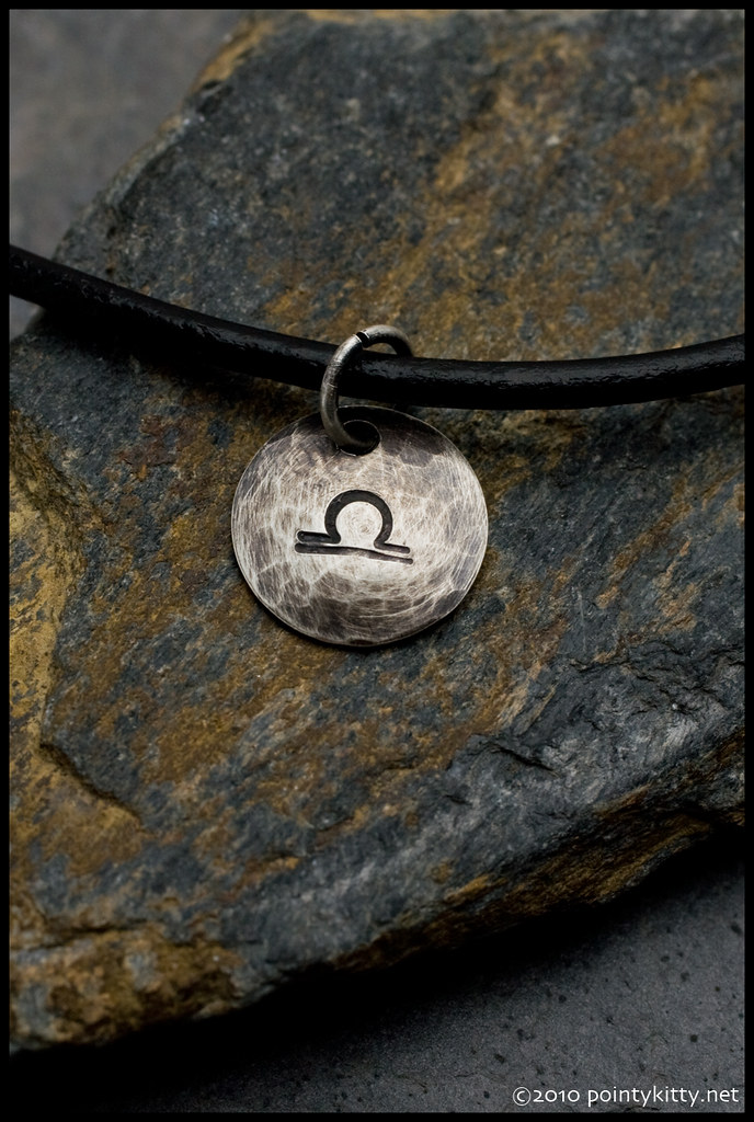 Hammered Sterling Zodiac Pendant - Libra