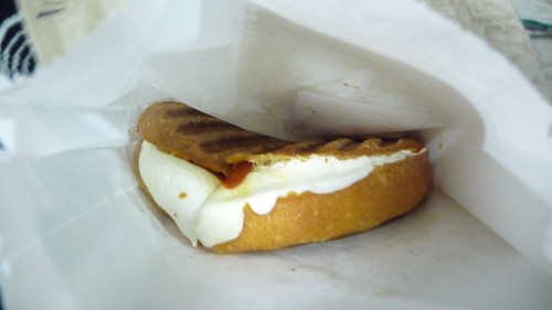 Fresh mozzarella/fried piquillo pepper panini from Milk Truck