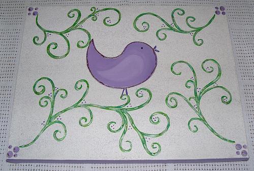 painting purple bird...
