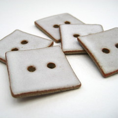 Ceramic buttons - white square (Jude Allman) Tags: white ceramic ceramics handmade buttons crafts craft jude clay button pottery haberdashery stoneware notion folksy notions allman