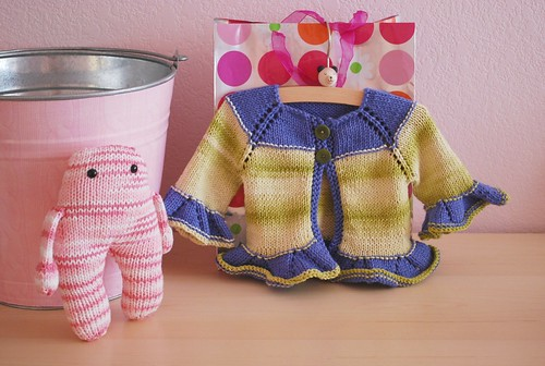 Gorgeous hand knit sweater and a fun pink monster from Jeni