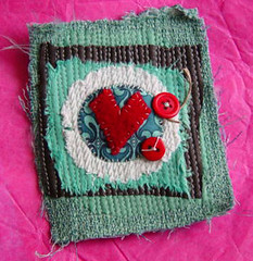 love for Catherine (the messy nest) Tags: love leather quilt heart little valentine story fabric swap button trade exchange stitched 2010 identityseven jenosborn themessynest
