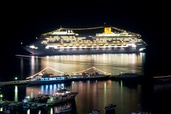 Costa Fortuna at Night (Vasilis Tsikkinis) Tags: costa greek boat greece reflexions fortuna mykonos canoneos5d