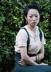 Yoyogi Park rockabilly girlfriend (gramster70) Tags: portrait green japan cherry tokyo sad skirt rockabilly lonely melancholy yoyogipark cherryearrings gramster70portfolio graemeogstonportfolio