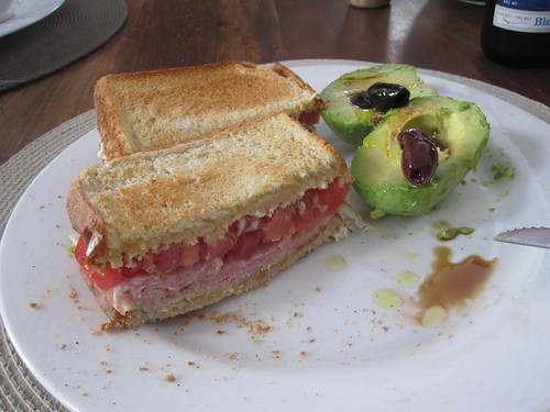 Ham sandwich, avocado with olives