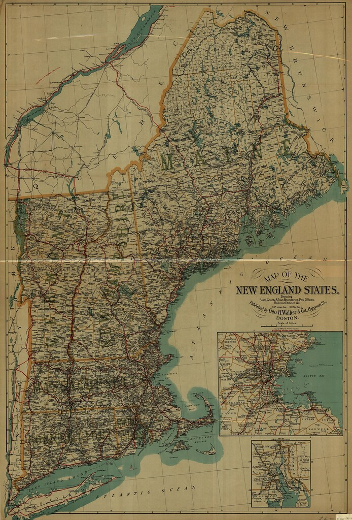 Map of the New England States. Showing, State, County & Town Boundaries, Post Offices, Railroad Stations &c.