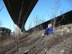 Playing under the freeway (Jeff Youngstrom) Tags: nathan overpass issaquah