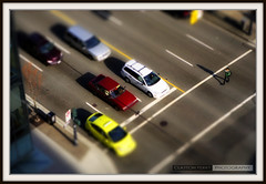 Small World (Clayton Perry Photoworks) Tags: above city people canada streets cars vancouver canon walking downtown bc traffic britishcolumbia cab pedestrian mini crosswalk tiltshift canonphotography 1dmarkiii canon1dmarkiii claytonperry