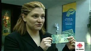Bank of Canada spokeswoman announcing polymer notes