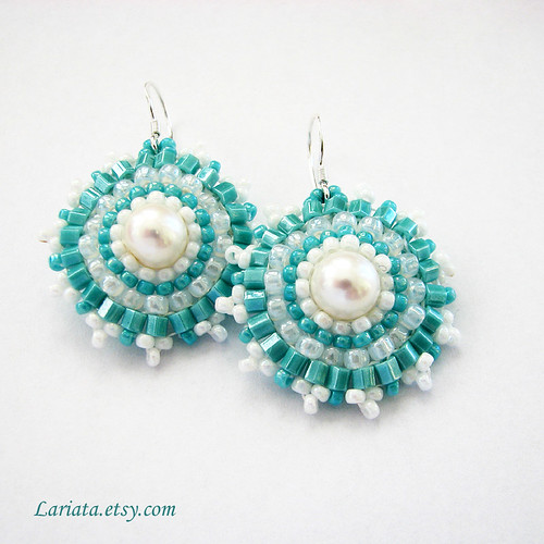 turquoise and freshwater pearl beadwoven earrings