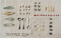 a collection of collections (wild goose chase) Tags: stone leaf linen shell pebble button eucalpytus peppercorn mustardspoon sagaseed