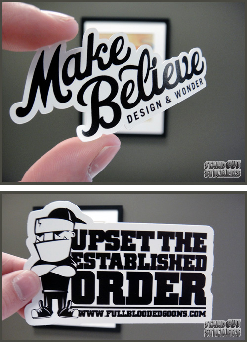 Black white die cut stickers
