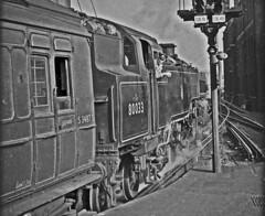 80033 waiting to leave Brighton with the 0848 to Tunbridge Wells West 1 Sept 1955 (pondhopper1) Tags: blackandwhite white black steam railways uksteam standard4tank 264t