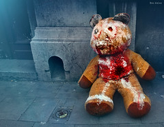 That Teddy is in Real Trouble (Ben Heine) Tags: bear street blue light brussels game art childhood animal fairytale fur photography weird kid crazy pain scary blood hole heart belgium teddy pavement chest fear innocent fluffy coeur problem filter freak gore torture horror mad rue sang heartbreak troubles jouet bloed trou trottoir heartbreaker ours fourrure peluche saintvalentin saintvalentine horreur douleur enfance problme benheine coeurbris