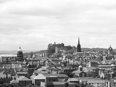 Edinburgh skyline from Arthur's Seat (byronv2) Tags: blackandwhite bw building castle history monochrome skyline architecture scotland blackwhite edinburgh edinburghcastle dome arthursseat oldcollegebuilding