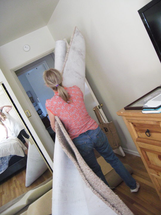 mom helping carpet
