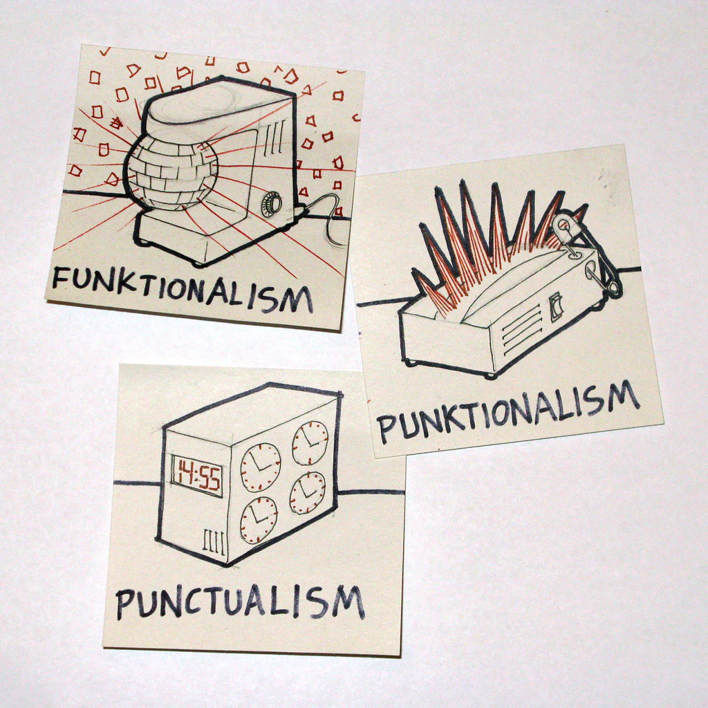 Funktionalism, Punktionalism and Punctualism. Some of the lesser-known movements illustrated.