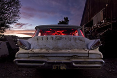 Sunset Colony (Lost America) Tags: lightpainting abandoned mercury 1958 junkyard stationwagon nocturnes colonypark thebigm