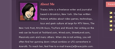 Screen Shot of Tracey John's Website