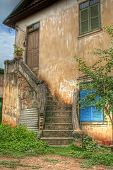 House in Loas (Chad McDonald) Tags: camera old travel vacation house building architecture stairs canon eos interesting processing shutter loas luang loa prabang chadmcdonald