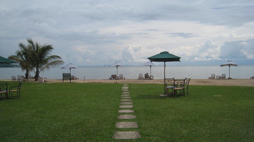 One of only a handful of sandy beaches on Lake Kivu