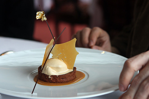 chocolate tart with salted caramel ice cream