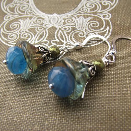 Handmade Sterling Silver Beaded Blue Jonquil Earrings