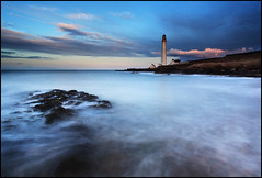 Scurdie Ness Lighthouse (angus clyne) Tags: ocean longexposure blue light sunset sea sun house green set dark darkness dusk down hour ness winterspring scurdie colorphotoaward northeastcoastofscotland
