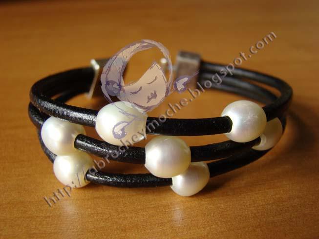 artesanía bilbao pulsera cuero perlas