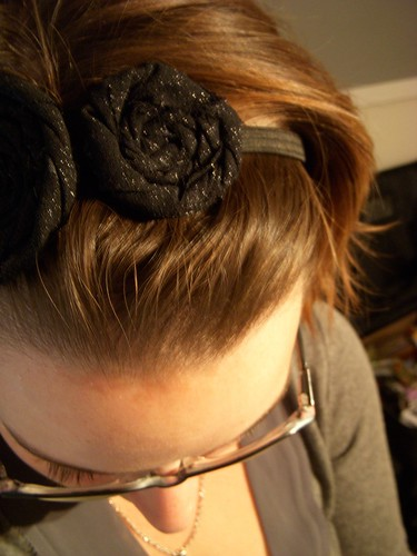 Me wearing sparkly Fabric Flower Headband 2