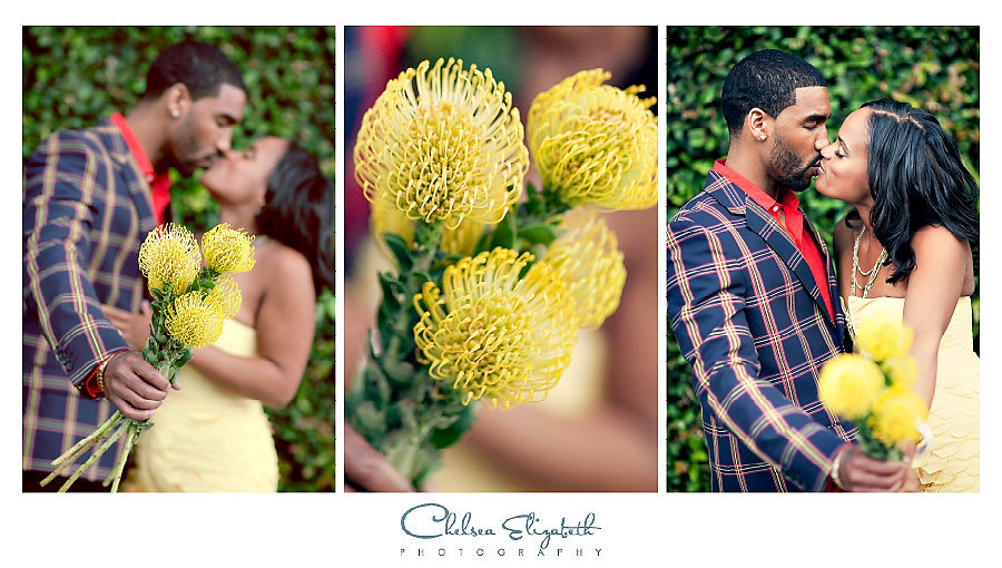 yellow flowers prop engagement session