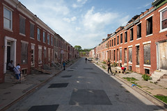 Perlman Place, Baltimore (metroblossom) Tags: playing building abandoned buildings children teens maryland demolition baltimore talking residential derelict rowhouses rephotography historicdistrict img4672 repeatphotography onedozenplaces