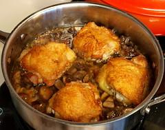 Zinfandel Braised Chicken Thighs with Mushrooms and Polenta