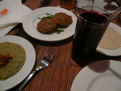 Ta'miyya (fava bean falafel) and hibiscus at Felfela