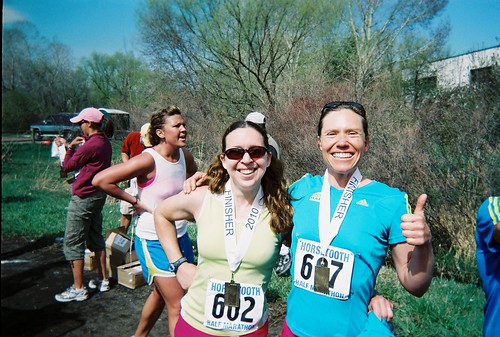 Clare & Jenny Finish Line of Horsetooth Half 2010
