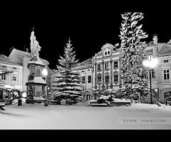 Cold Nights in ValMez (VitorJK) Tags: city winter bw snow cold canon square nights centrum hdr g11 valmez valasske mezirici