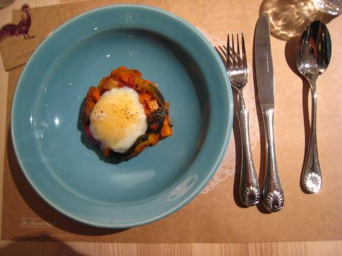 西西里火山櫛瓜燉紅黃時蔬岩漿蛋