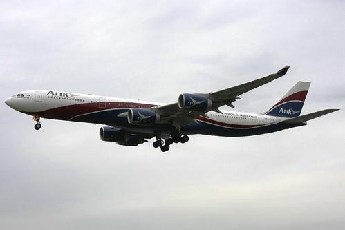 """Arik Air Airbus A340-541 CS-TFX """"Captain Bob Hayes"""" LHR 29-04-10"""