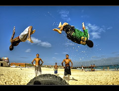 #122/365 Bump&Jump [Explored] (iPh4n70M) Tags: sea sky sun mer beach project photography soleil photo jump nikon photographer photographie vert fisheye cap photograph tc 365 nikkor 16mm hdr caboverde photographe capvert d700 tcphotography ph4n70m iph4n70m tcphotographie