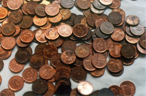 Ottowa Globe cent pile