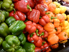 Colors of spring (wizetux) Tags: red orange color green yellow pepper vegetable produce redpepper yellowpepper greenpepper orangepepper fredmeyers