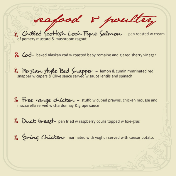 Menu-Seafood & Poultry