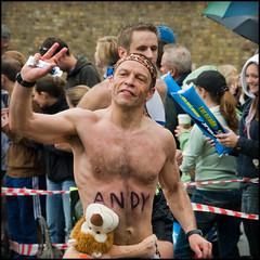 Andy and Adoring Pal (Stuart-Lee) Tags: uk shirtless england hairy man marathon candid gb runners athletes runner londonmarathon virginlondonmarathon2010